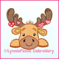 Moose with Hearts Scribble Applique Machine Embroidery Design File 4x4 5x7 6x10