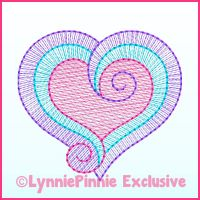 Sketch Fill Swirl Heart Machine Embroidery Design File 4x4 5x7 6x10