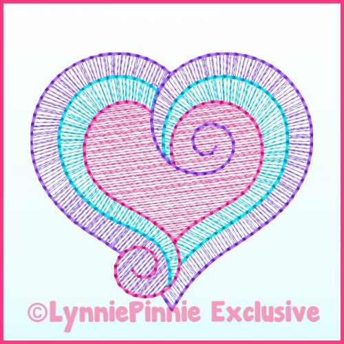 Sketch Fill Swirl Heart Machine Embroidery Design File 4x4 5x7 6x10