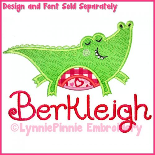 Happy Alligator Applique Machine Embroidery Design File 4x4 5x7 6x10