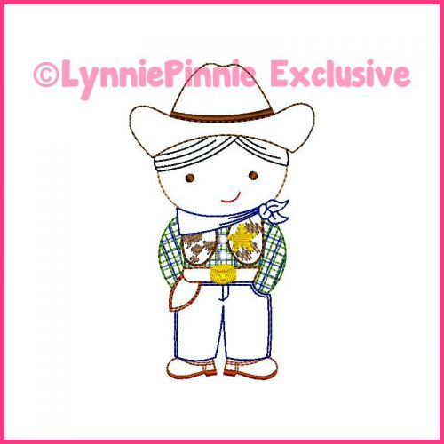 ColorWork Cutie Cowboy Sheriff Machine Embroidery Design File 4x4 5x7 6x10