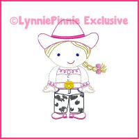 ColorWork Cutie Cowgirl Machine Embroidery Design File 4x4 5x7 6x10