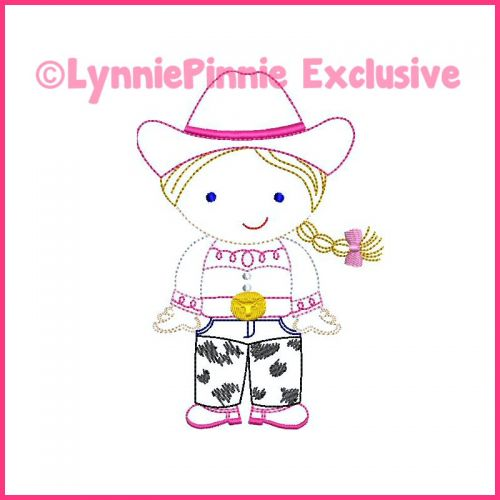ColorWork Cutie Cowgirl Machine Embroidery Design File 4x4 5x7 6x10