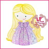 Sketch Fill Long Hair Princess Machine Embroidery Design File 4x4 5x7 6x10 (optional mylar)