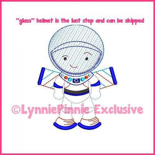 ColorWork Cutie Space Explorer Boy Machine Embroidery Design File 4x4 5x7 6x10
