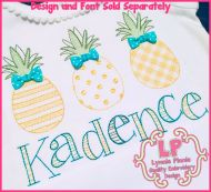 ColorWork Patterned Pineapples Machine Embroidery Design 4x4 5x7 6x10