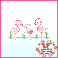 ColorWork Flamingos Machine Embroidery Design 4x4 5x7 6x10
