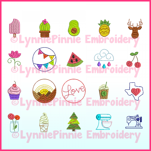Mini Icons Set 1- 20 Machine Embroidery Design Files 1.5 and 2 inch