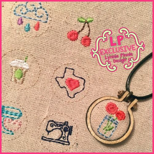 """Mini 1"""" Embroidery Hoop Set with Bonus Cord Necklace and Jump Ring"""