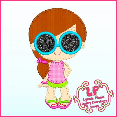 Summer Sunglasses Girl Bold Blanket Stitch Applique Machine Embroidery Design File 5x7 6x10