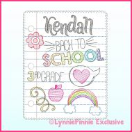 Back to School Notebook Paper Doodles SET Applique & Sketch Scribble Machine Embroidery Design File 4x4 5x7 6x10