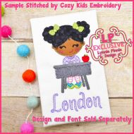Back to School Desk Girl w/Curly Hair Cutie Bold Blanket Triple Stitch Applique Machine Embroidery Design File 4x4 5x7 6x10