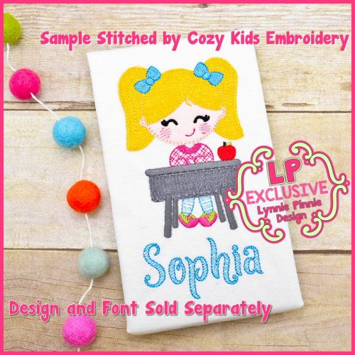 Back to School Desk Girl Cutie Bold Blanket Triple Stitch Applique Machine Embroidery Design File 4x4 5x7 6x10