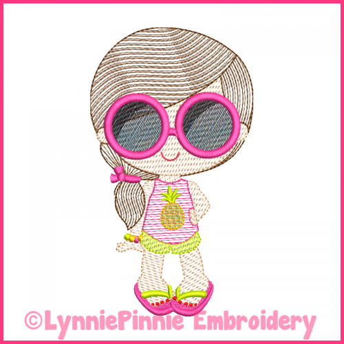 Summer Sunglasses Girl Light Sketch Fill (optional mylar) Machine Embroidery Design File 4x4 5x7