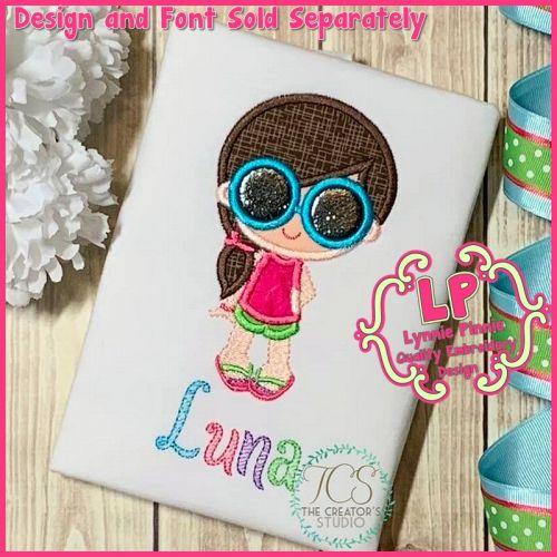Summer Sunglasses Girl Applique Machine Embroidery Design File 4x4 5x7 6x10