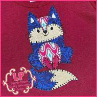 Bold Blanket Fox Applique Machine Embroidery Design File 4x4 5x7 6x10