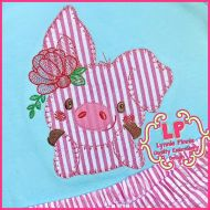 Pig with Flower Bold Blanket Applique (mylar flower) Machine Embroidery Design File 4x4 5x7 6x10