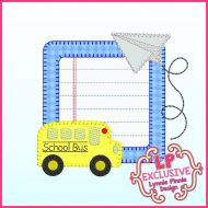 Bold Blanket Bus and Paper Airplane School Frame Applique Machine Embroidery Design File 4x4 5x7 6x10