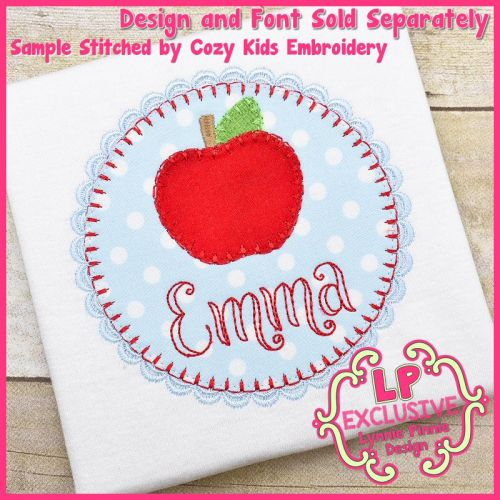 Back to School Fancy Apple Frame Circle Bold Blanket Stitch Applique Machine Embroidery Design File 4x4 5x7 6x10