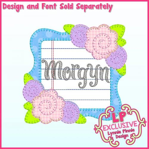 Bold Blanket Roses School Frame Applique Machine Embroidery Design File 4x4 5x7 6x10