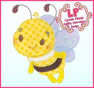 Bold Blanket Stitch Applique Bee with Optional Mylar Wings Machine Embroidery Design File 4x4 5x7 6x10