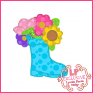 Triple Zig Zag Flower Rain Boot Applique Machine Embroidery Design File 4x4 5x7 6x10
