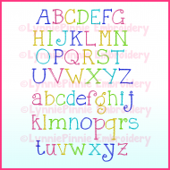CurlyGirl Colored Pencil Sketch Serif Font  -  DIGITAL Embroidery Machine File -- 3 sizes + BX