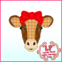 Cow with Bow Applique Triple ZigZag Machine Embroidery Design File