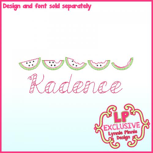 Sketch Watermelon Row Machine Embroidery Design File 4x4 5x7 6x10