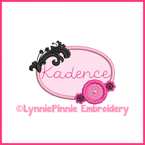 Kadence Frame with Flowers Applique Design 4x4 5x7 6x10 7x11