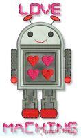 Love Machine Robot Applique 4x4 5x7