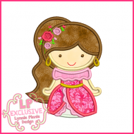 Pretty Latin Princess Cutie Applique Design 4x4 5x7 6x10
