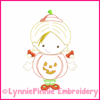 Lil Pumpkin Girl Colorwork Sketch Embroidery Design 4x4 5x7 6x10