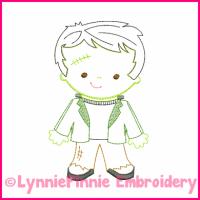 Lil Frankenstein Colorwork Sketch Embroidery Design 4x4 5x7 6x10