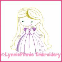 Long Hair Princess Cutie Colorwork Sketch Embroidery Design 4x4 5x7 6x10 7x11