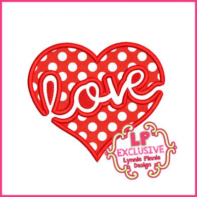 Love Heart 2 Applique 4x4 5x7 6x10 7x11