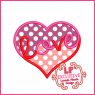 Love Heart Applique 4x4 5x7 6x10 7x11