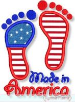 Made in America Baby Feet Applique 4x4 5x7 6x10