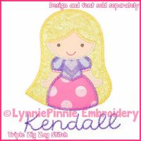 Triple Zig Zag Applique Cutie Princess Long Hair Embroidery Design File 4x4 5x7 6x10
