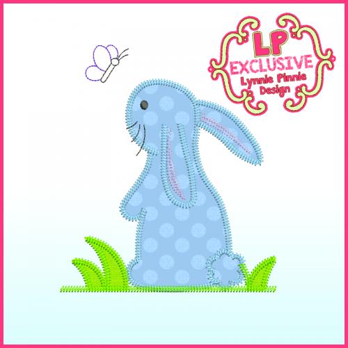 Triple Zig Zag Bunny Applique Machine Embroidery Design File 4x4 5x7 6x10