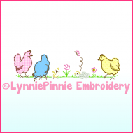 Simple Chickens Applique Machine Embroidery Design 4x4 5x7 6x10 7x11