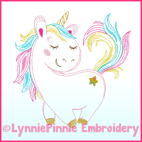 ColorWork Rainbow Unicorn Embroidery Design File 4x4 5x7 6x10 7x11