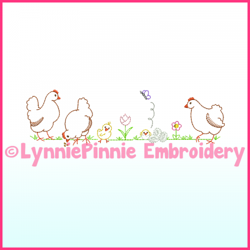 ColorWork Simple Chickens Machine Embroidery Design File 4x4 5x7 6x10