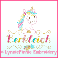 ColorWork Rainbow Unicorn Name Frame Embroidery Design File 4x4 6x10 7x11
