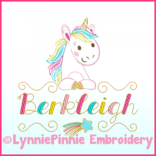 ColorWork Rainbow Unicorn Name Frame Embroidery Design File 4x4 6x10
