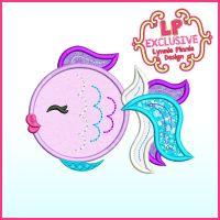 Colorful Fancy Fish Applique Machine Embroidery Design File 4x4 5x7 6x10