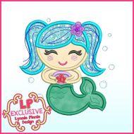 Colorful Mermaid Applique Machine Embroidery Design File 4x4 5x7 6x10