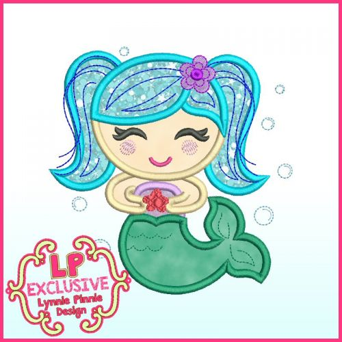 Colorful Mermaid Applique Machine Embroidery Design File 4x4 5x7 6x10