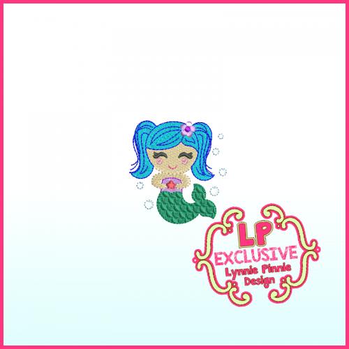 Colorful Mini Mermaid Filled Machine Embroidery Design File 4x4 5x7 6x10