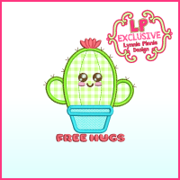 Cutie Cactus FREE HUGS Applique Machine Embroidery Design File 4x4 5x7 6x10